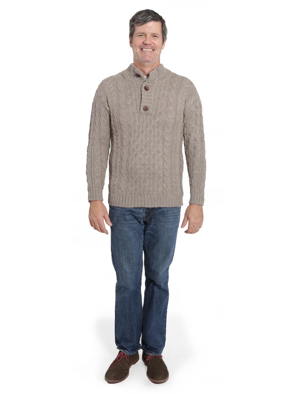 Men's Cable 3-Button Neck Alpaca Pullover Full Size