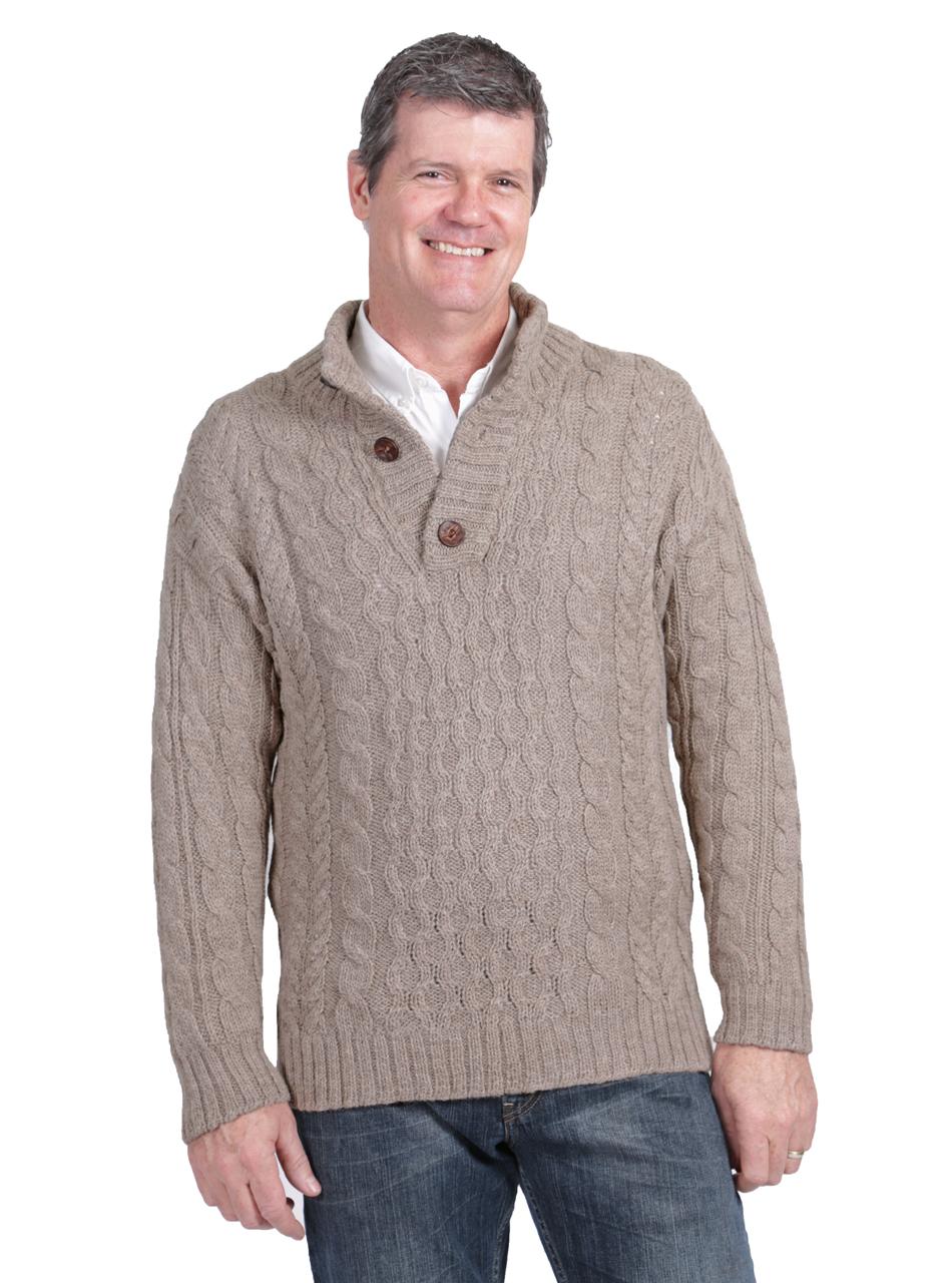 b3c99608e966 Men s Cable 3-Button Neck Pullover 100% Alpaca Wool Sweater