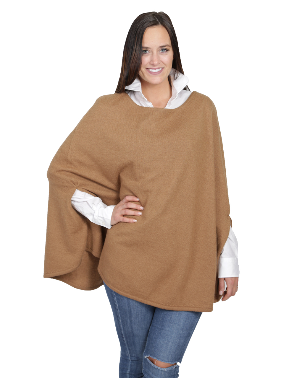 Women's Hailey Baby Alpaca Belle Poncho - Butterscotch Front