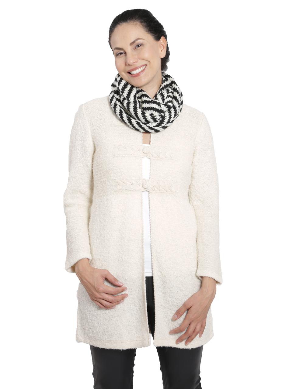 Women's Chevron Circular Baby Alpaca Scarf Front