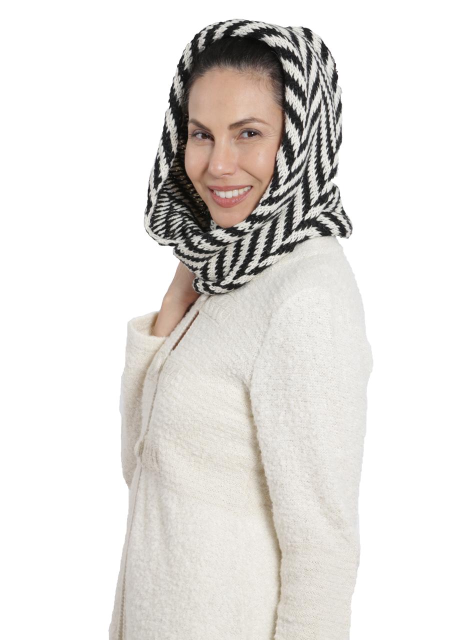 Women's Chevron Circular Baby Alpaca Scarf Hooded-Style Side