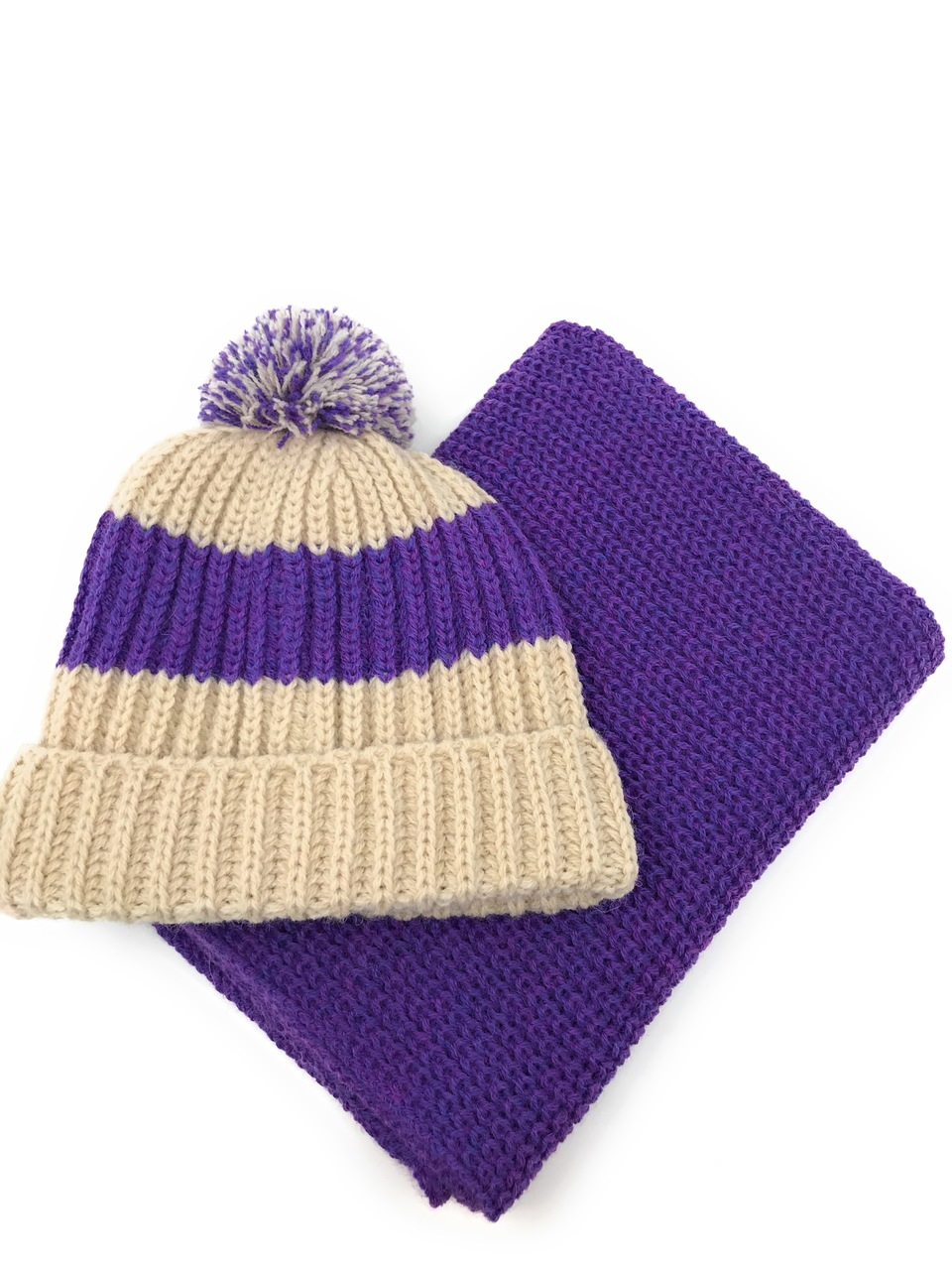 Vintage Beanie / Tossle Cap - Alpaca & Acrylic Sugar Plum featured with matching snood