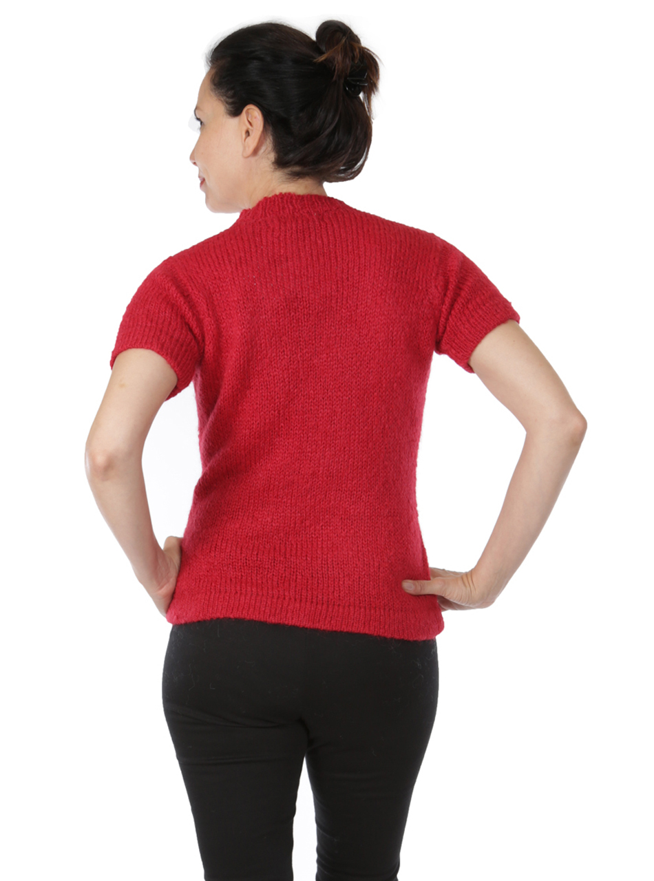 Blair Short Sleeve Suri Sweater Back on Model