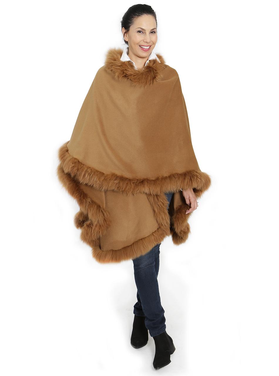 Baby Alpaca Fur Cape Butterscotch Front - Alt