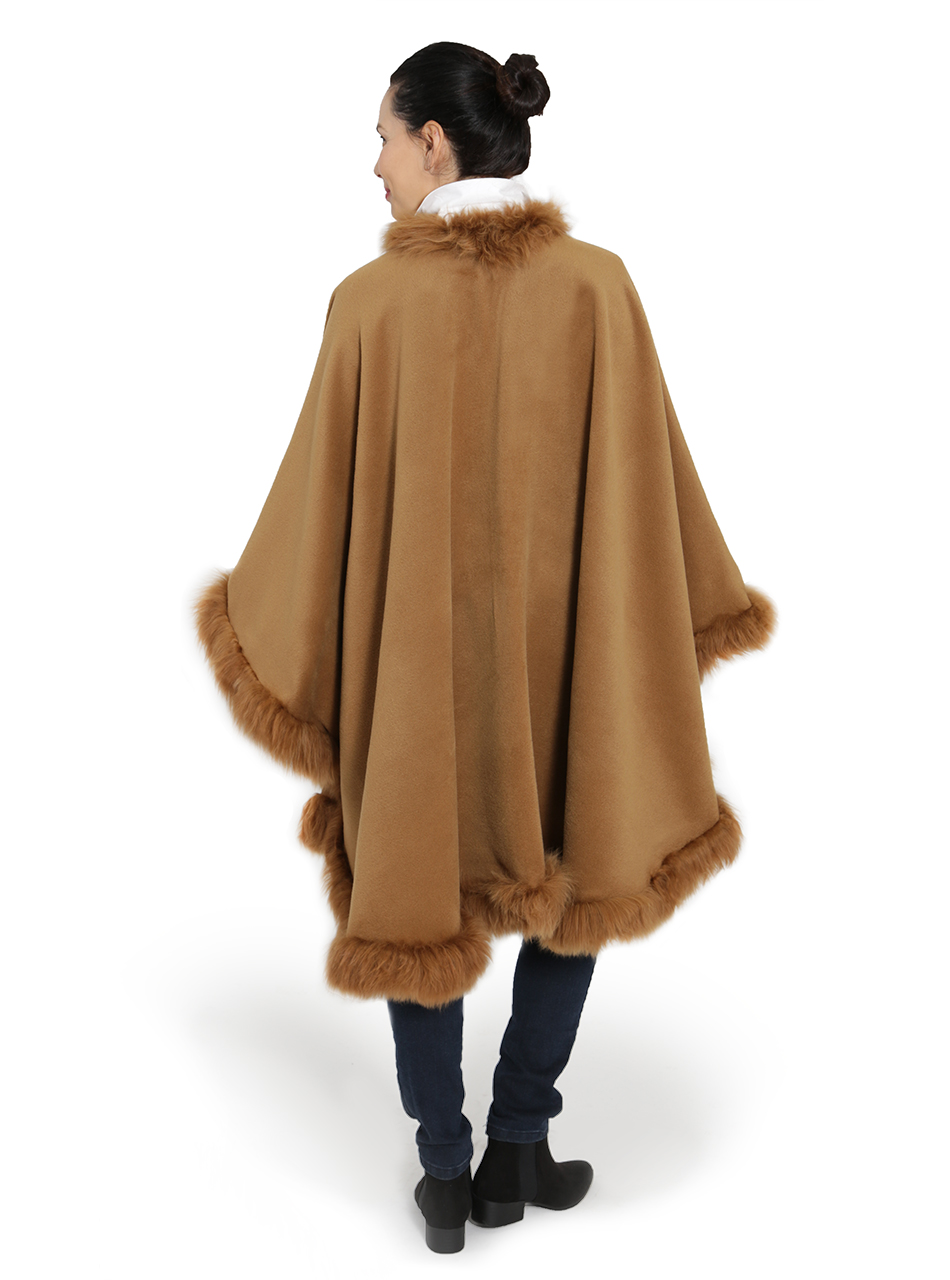 Baby Alpaca Fur Cape Butterscotch Back