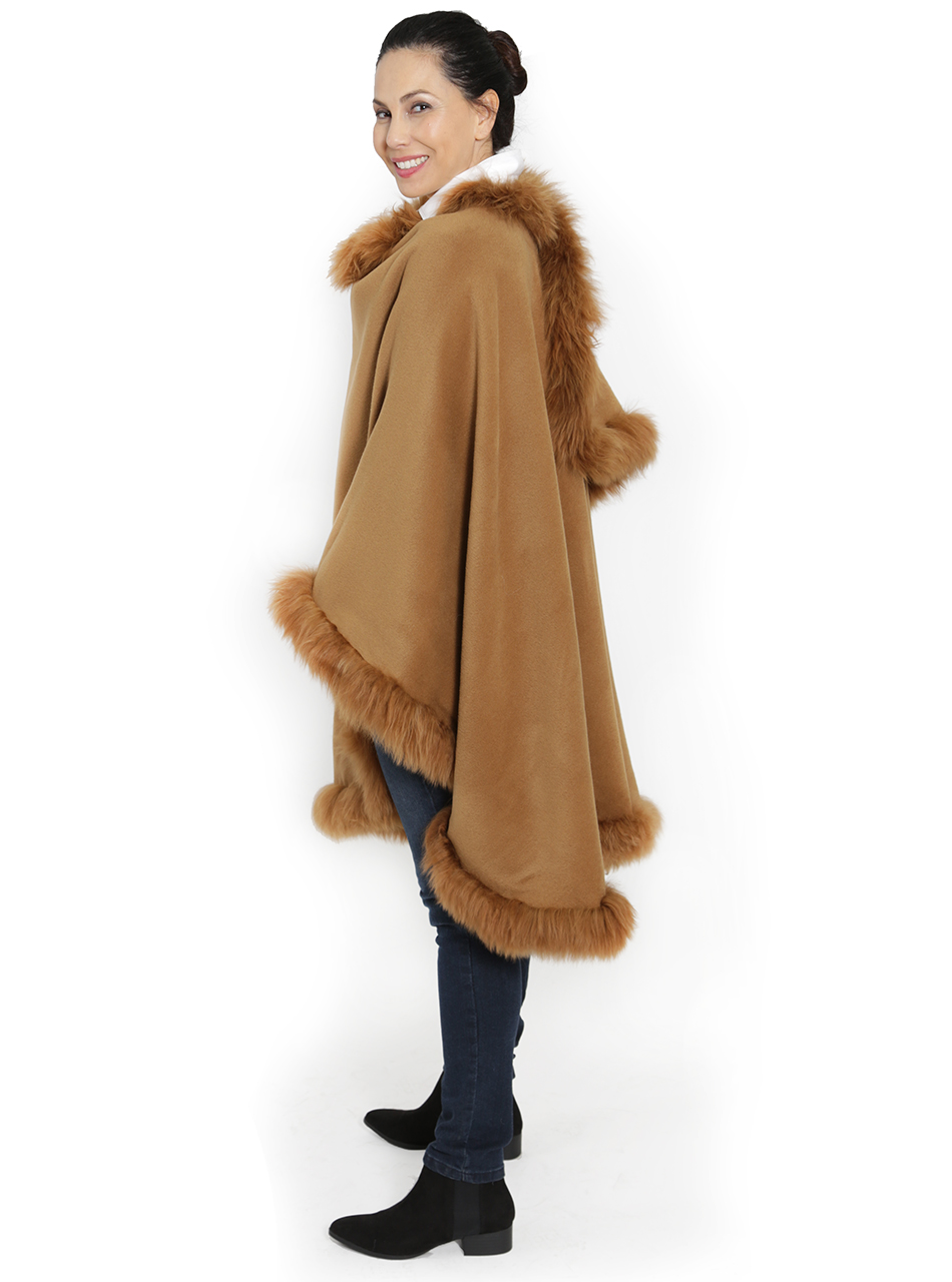 Baby Alpaca Fur Cape Butterscotch Side