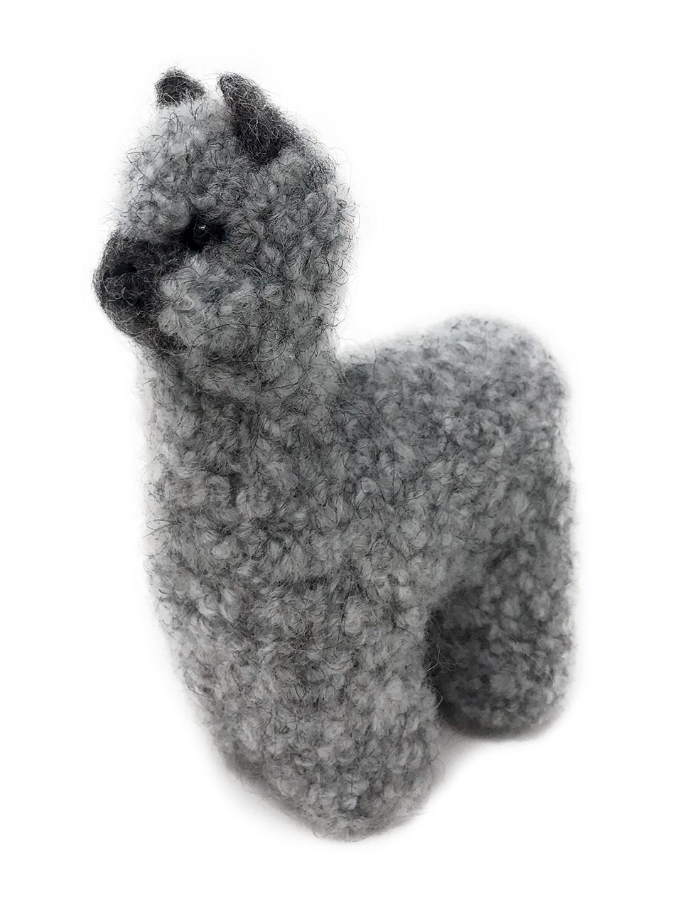 Alpaca Needle Felted Figure - Grey / Charcoal Front side