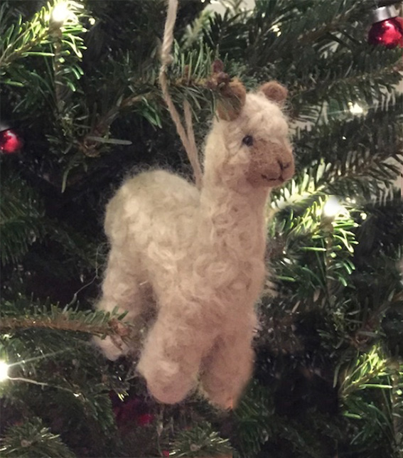 Needle Felted Alpaca Ornament in Tree