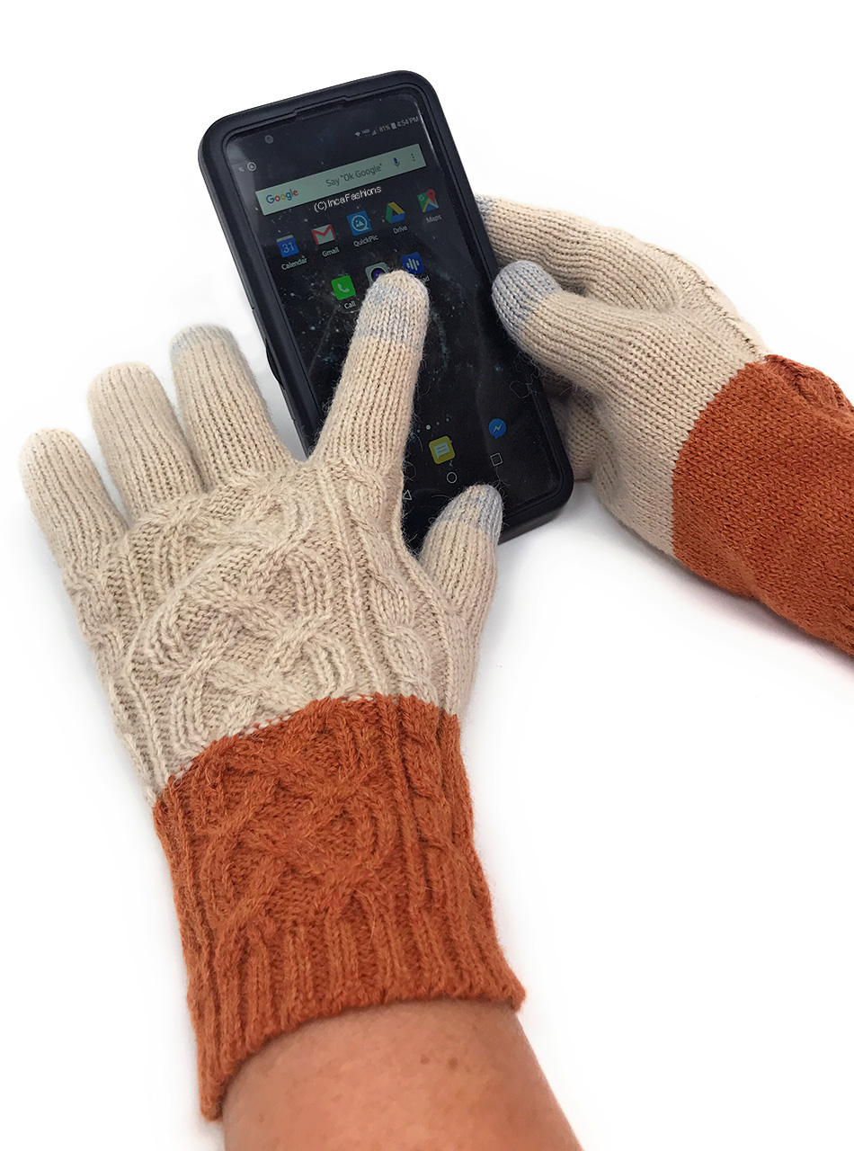 Two Color Color Block Knit Touch Screen Gloves - Alpaca & Acrylic MAIN