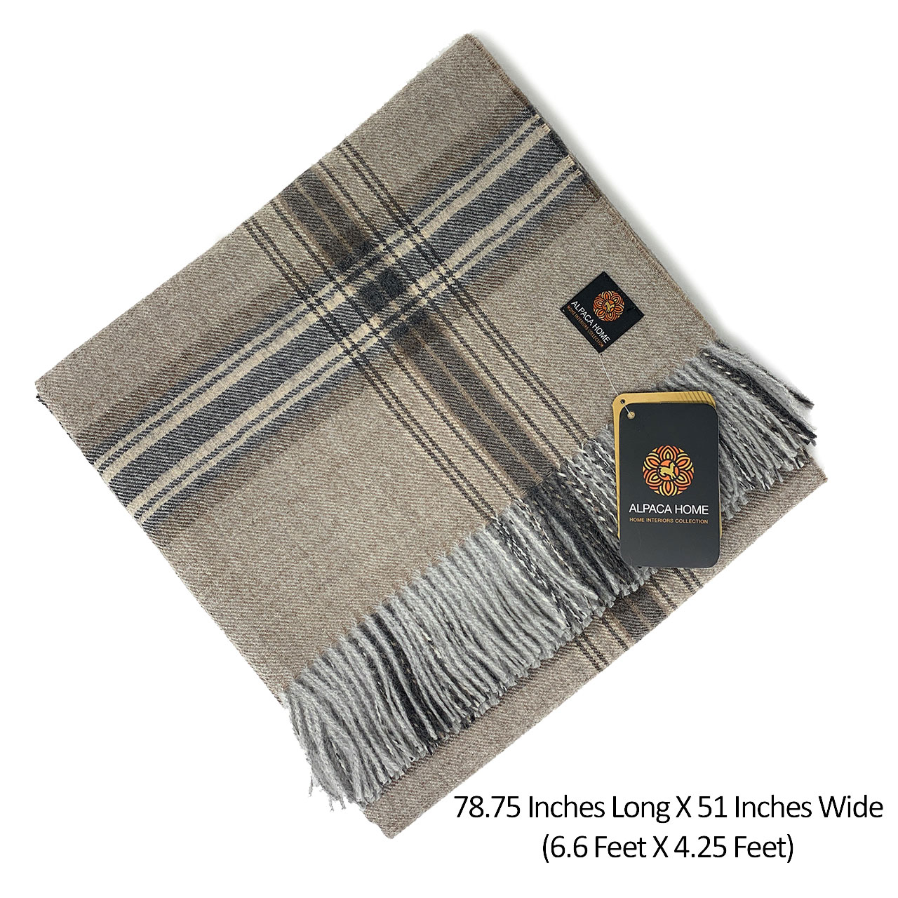 100% Baby Alpaca Wool Great Outdoors Plaid Throw Blanket Size