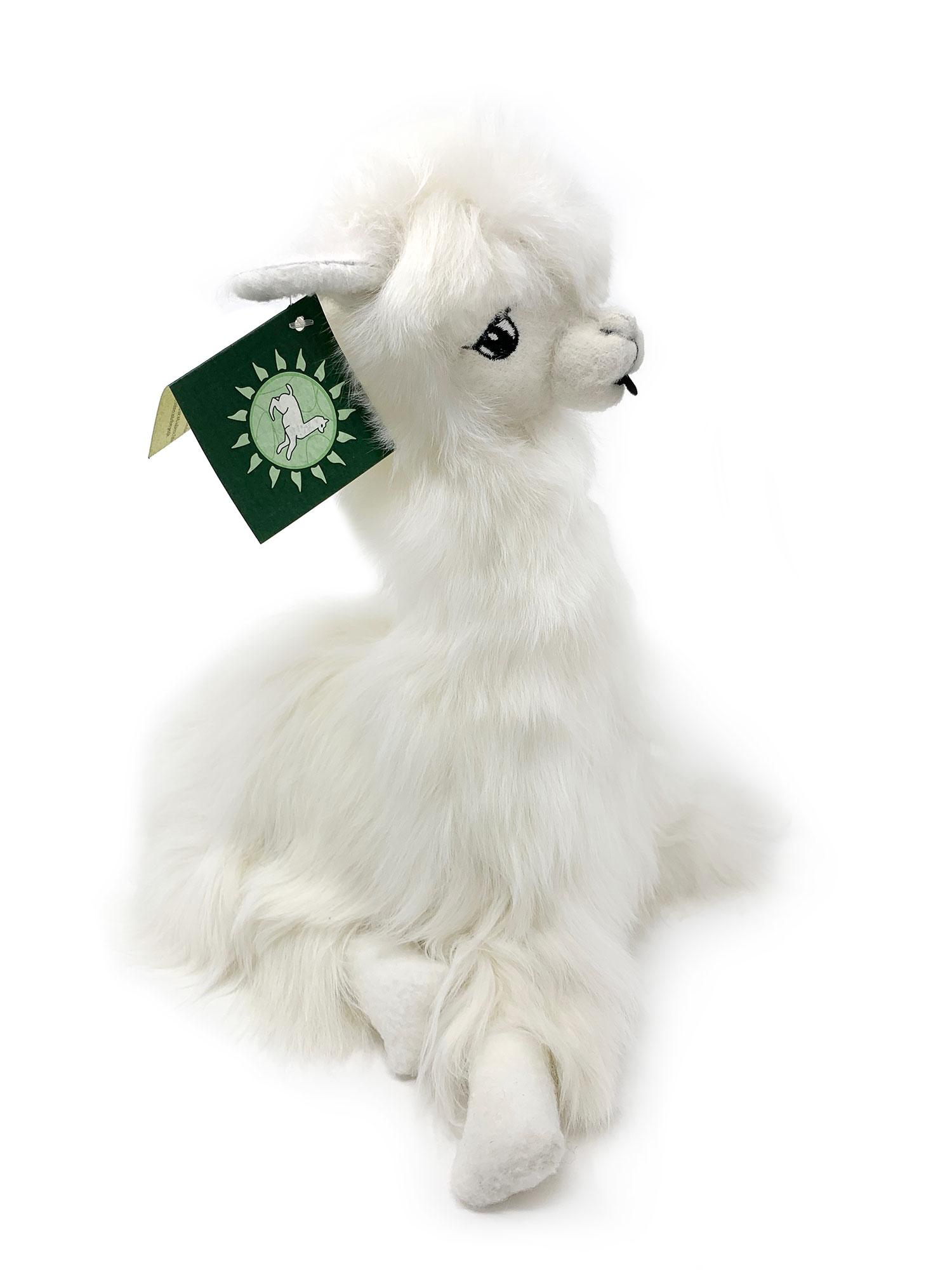 12 inch Sitting Suri Alpaca Plush Toy White