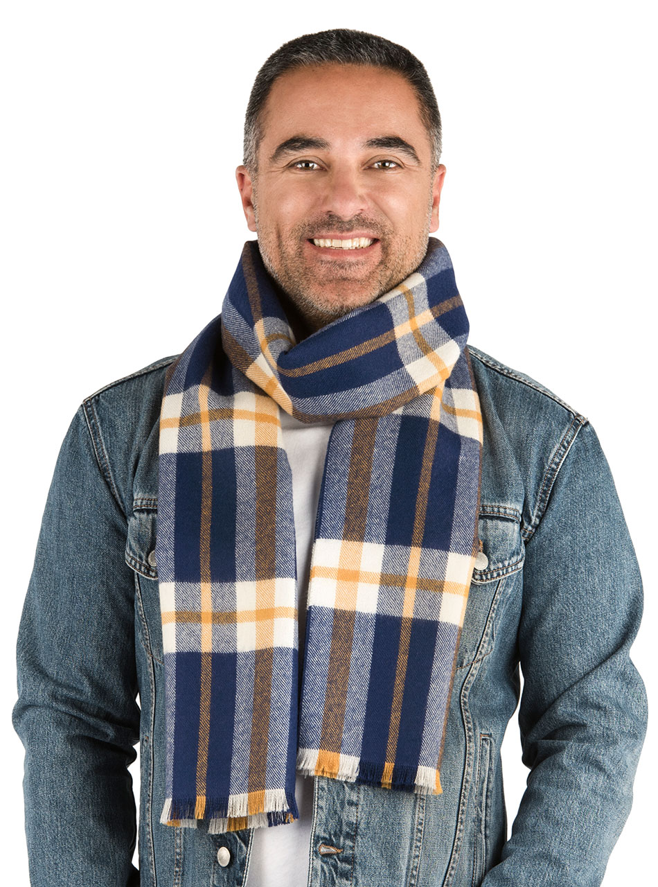 Scotch Plaid Tartan Baby Alpaca Scarf with Micro Fringe Liam on Man