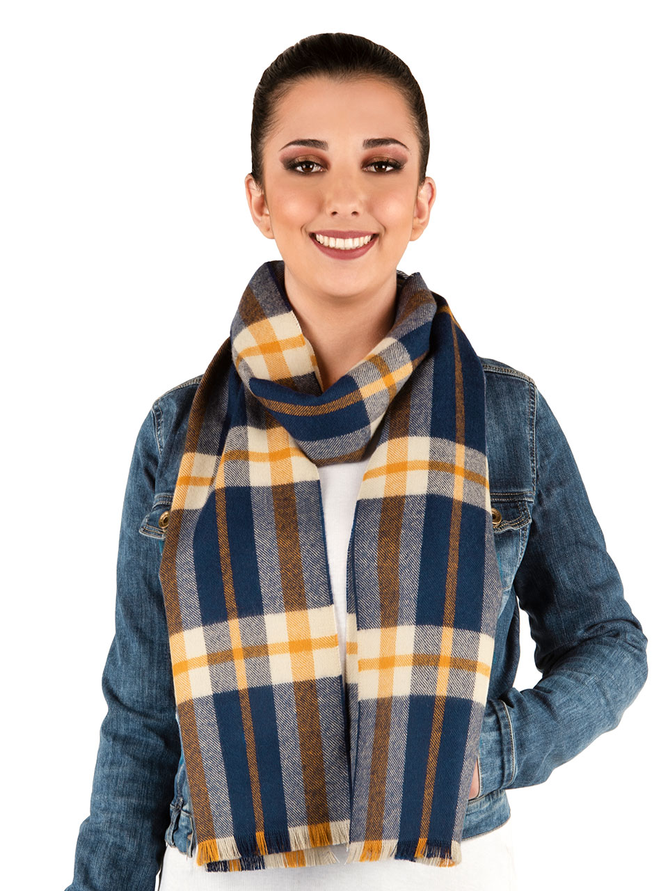Scotch Plaid Tartan Baby Alpaca Scarf with Micro Fringe Liam on Woman