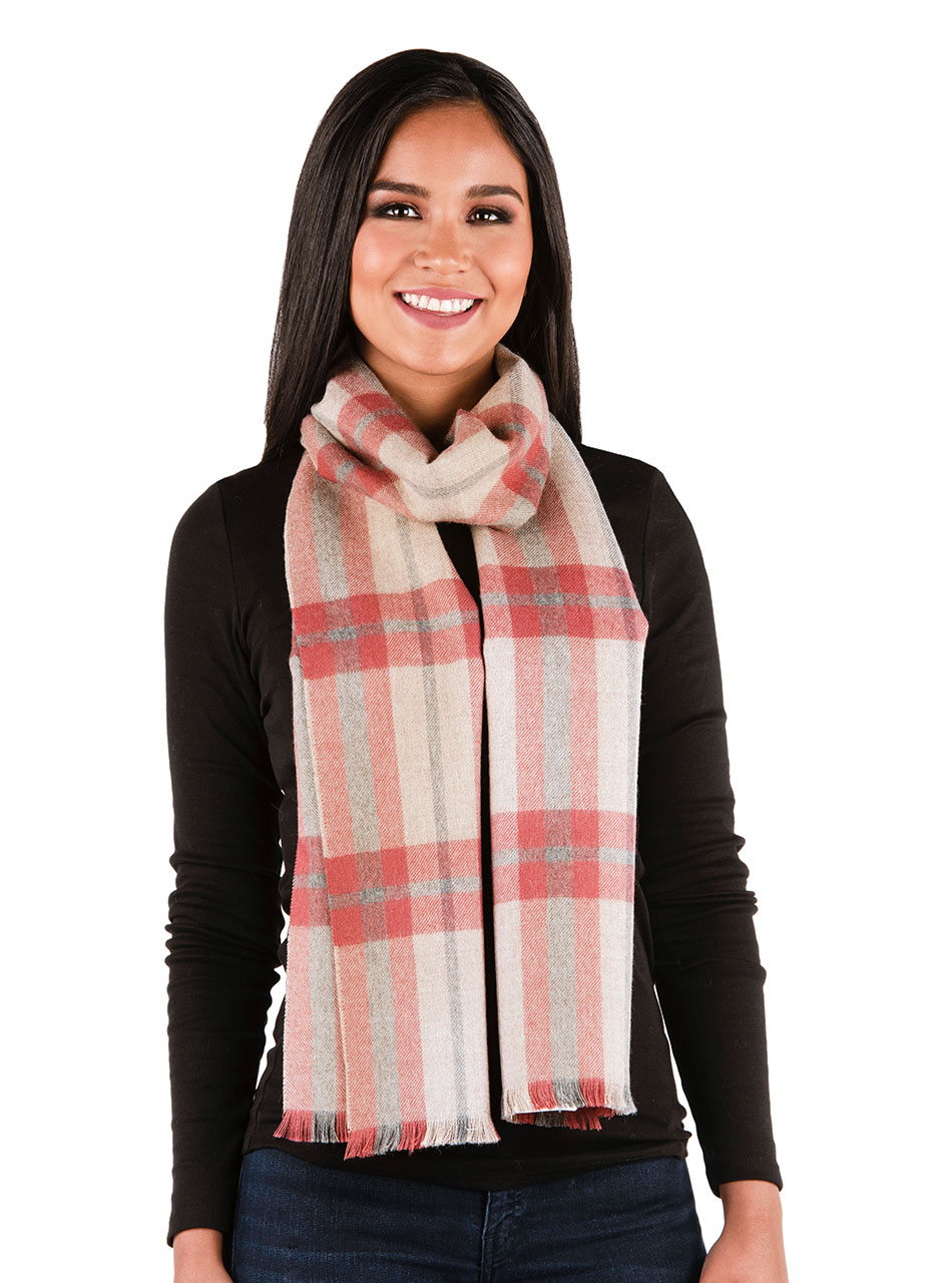 Scotch Plaid Tartan Baby Alpaca Scarf with Micro Fringe Colleen on Woman
