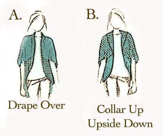 Visual image of 2 ways to wear cardigan