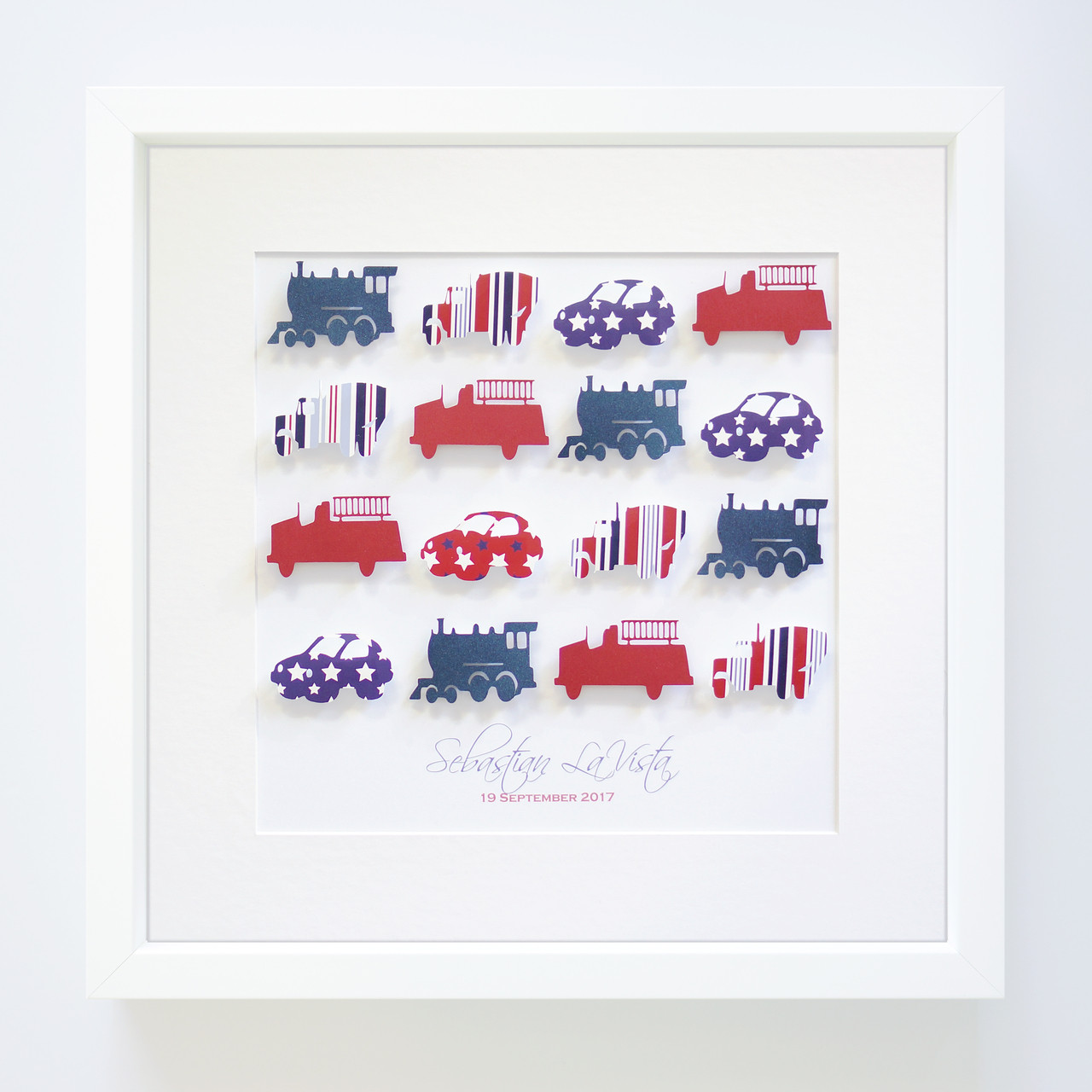 Personalised Mixed Transport Handcrafted Paper Art Frame Almond