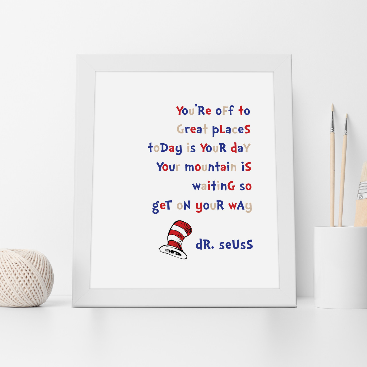 Dr Seuss Mountain Is Waiting Inspirational Wall Art Print