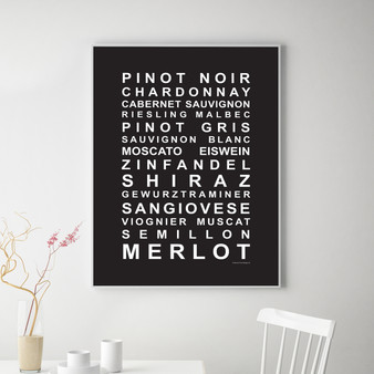 A Nice Drop of Wine Print in Black, with optional Australian-made white timber frame
