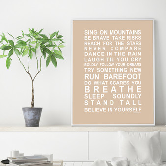 Sing on Mountains Print in optional Australian-made white timber frame, in Latte
