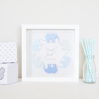 Small elephant frame in custom blue