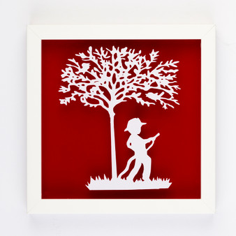 Fireman Vintage Kids Paper Art Frame in Red