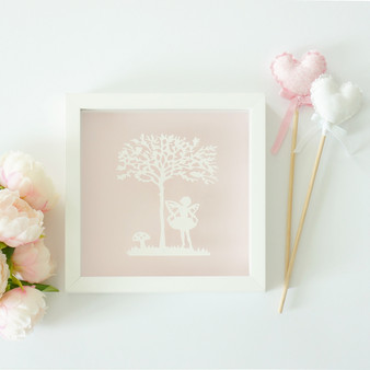 Fairy Vintage Kids Paper Art Frame in Pink