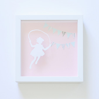 Skipping Girl Paper Art Frame