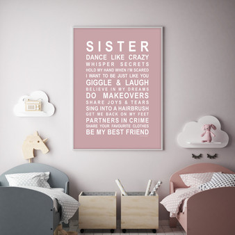 Sister Print in Dusky Pink, with optional Australian-made white timber frame