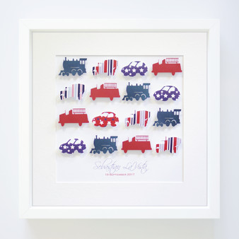 Large mixed transport frame in Red, White and Blue