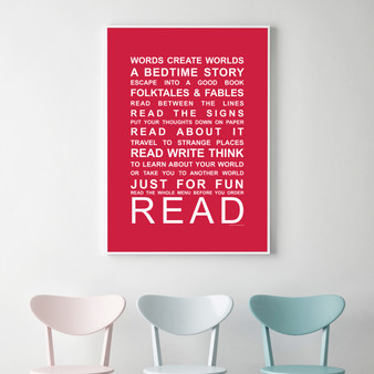 Expressions of Your World - Read Print in Red, with optional Australian-made white timber frame