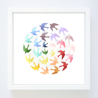 Rainbow wren ball paper art frame