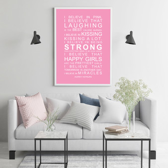 I Believe in Miracles Print in Pink, with optional Australian-made white timber frame