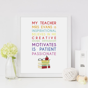 My Teacher Is Personalised Print