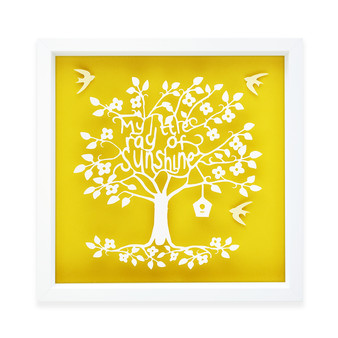My Little Ray of Sunshine Typography Tree Paper Art Frame