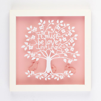 It Must be Love Love Love Silhouette Paper Art Frame