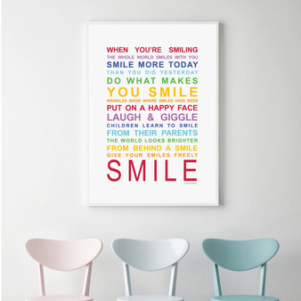 Expressions of Your World -Smile Print in Rainbow, with optional Australian-made white timber frame