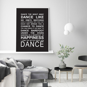 Expressions - Dance Print in Black, with optional Australian-Made white timber frame
