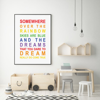 Somewhere Over the Rainbow Print, with optional Australian-made Black timber frame