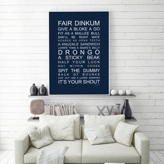 Aussie Slang print in Navy, with optional Australian-made white timber frame