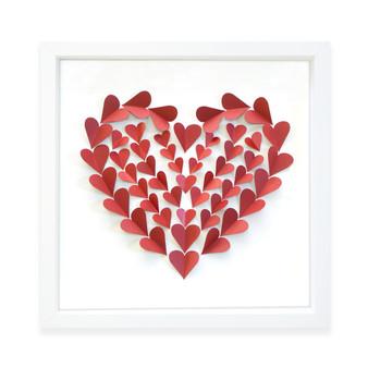 Hearts a Flutter Paper Cut Wall Art Frame