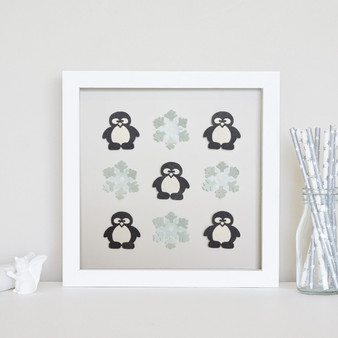 Penguins with 4 Snowflakes