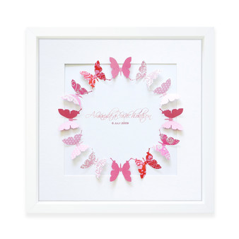 Large Butterflies Circle in Berry Pink
