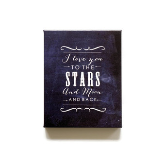 I love you to the stars and moon chalkboard canvas