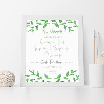 The Best Teacher Appreciation Wall Art Print in White