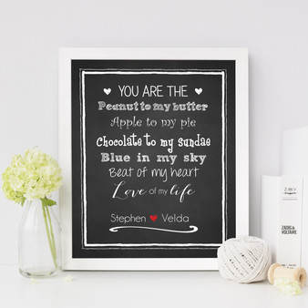 Peanut to my Butter Personalised Couple's Print, with optional Australian-made white timber frame