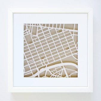 Melbourne Paper Cut Map with optional Australian-made white timber frame