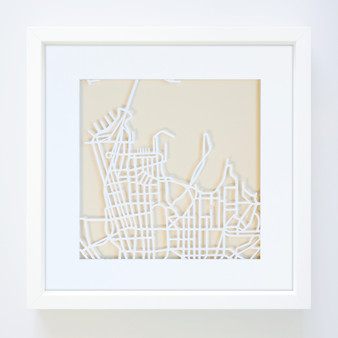 Sydney Paper Cut Map with optional Australian-made white timber frame