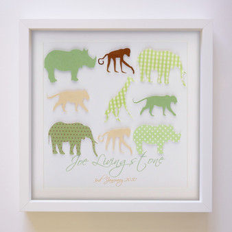 "Safari Personalised Paper Art Frame in 9"" x 9"""