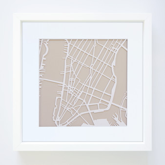 New York Paper Cut Map with optional Australian-made white timber frame