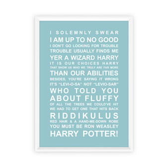 Harry Potter Movie Quotes Print in Duck Egg, with optional Australian-made white timber frame